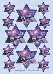 Aufkleber-Gruß-Karten: Stille Nacht, 4 Stück
