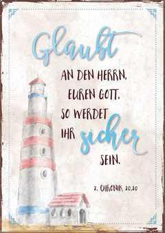 """Postkartenserie """"Leuchtturm - Glaubt"""" - 12 Stück"""